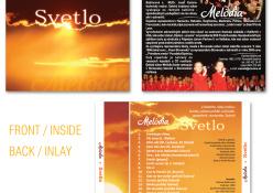 Obal CD Melódia - Svetlo: Návrh jednotlivých dielov obalu CD (FRONT / INSIDE, BACK / INLAY)