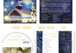Obal CD Melódia - Vianočné melódie: Návrh jednotlivých dielov obalu CD (FRONT / INSIDE, BACK / INLAY), potlač CD